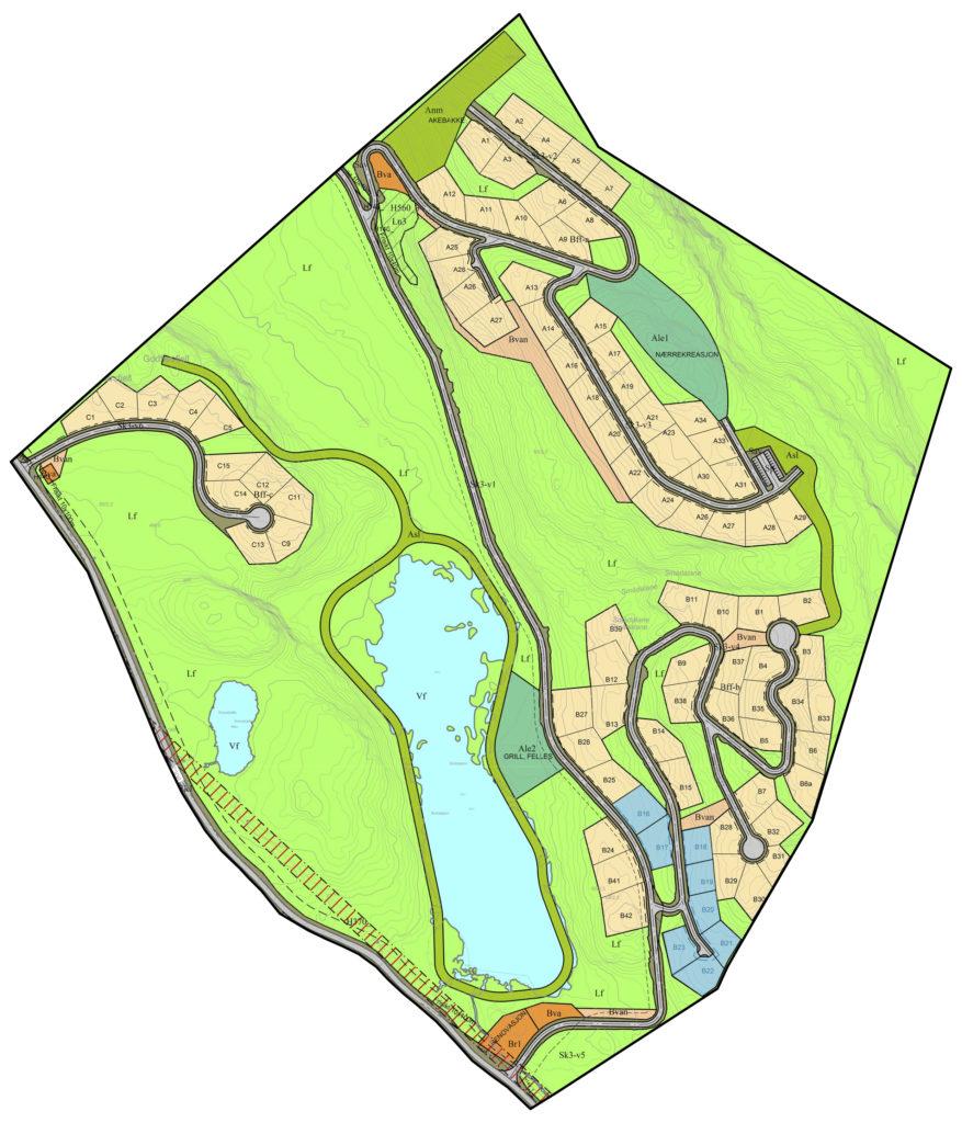 Kart over Lauvaas hyttefelt på Gautestad.