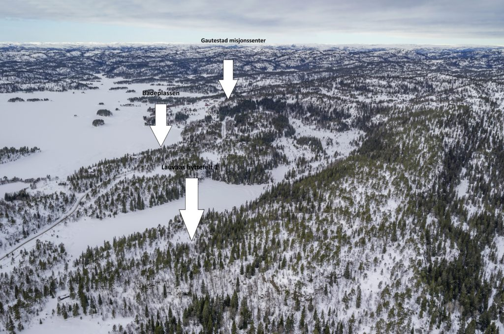 Oversikt over hvor Lauvaas hyttefelt ligger.