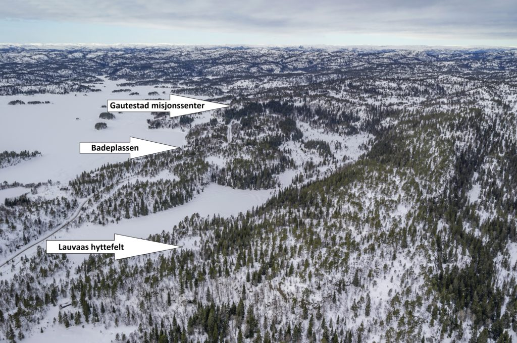 Flyfoto over Gautestad og Lauvaas hyttefelt.