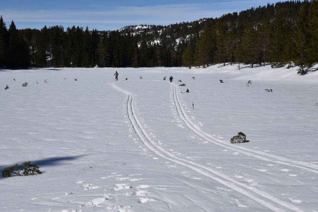 Påskerennet gikk i skiløyper på isen like ved hyttefeltet.